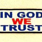In God We Trust Blue and Red on White Small Badge for Biker Vest Jacket Patch