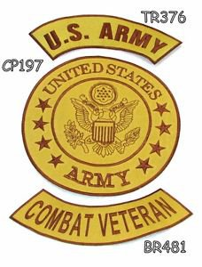 ARMY COMBAT VETERAN Brown on Gold Iron on 3 Patches Set for Biker Jacket