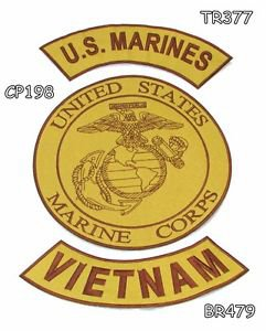 MARINES VIETNAM Brown on Gold Iron on 3 Patches Set for Biker Jacket