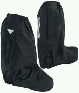 Rain Boot covers for Motorcycle Rididng black with reflective visibility LARGE
