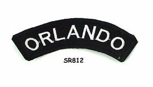 Orlando White on Black Small Rocker Iron on Patches for Biker Vest Jacket