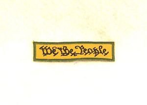 We the people black on tan with green Small Badge Biker Vest Motorcycle Patch
