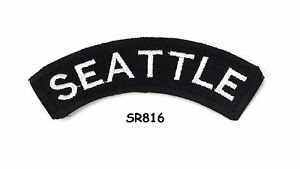 Seattle White on Black Small Rocker Iron on Patches for Biker Vest Jacket