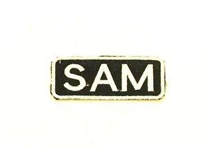 SAM White on Black Iron on Name TAG Patch for Biker Vest Jacket NB252