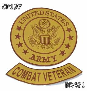 US ARMY COMBAT VETERAN Brown on Gold Iron on 2 Patches Set for Biker Jacket