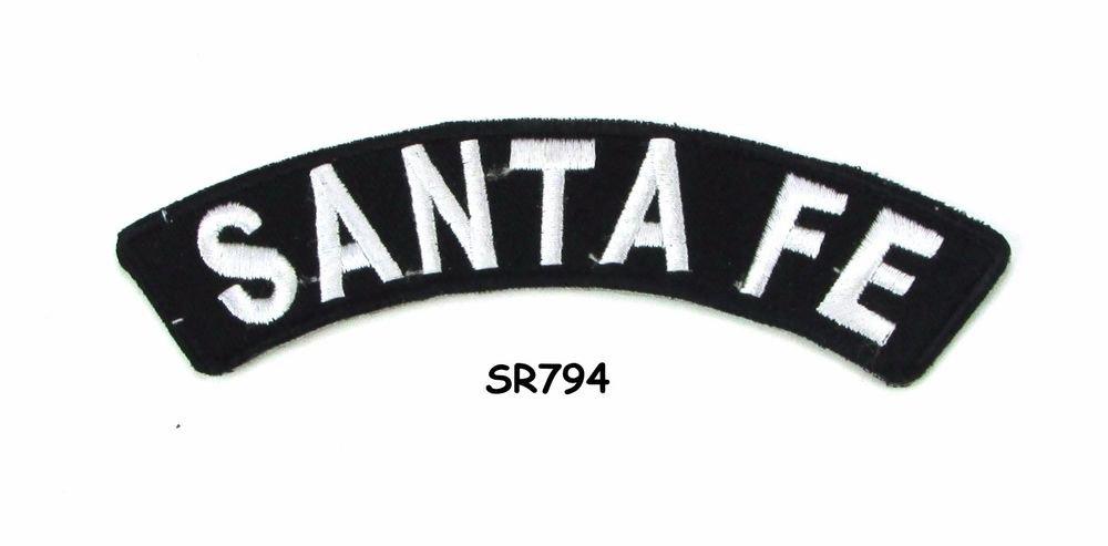 Santa Fe White on Black Small Rocker Iron on Patches for Biker Vest Jacket