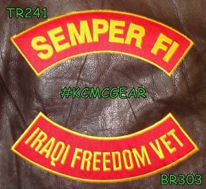 SEMPER FI IRAQI FREEDOM VET Brown on Red Back Military Patches Set Biker Vest