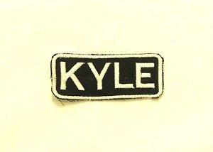 KYLE White on Black Iron on Name TAG Patch for Biker Vest Jacket NB236