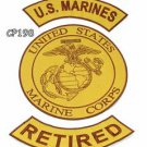 MARINES RETIRED Brown on Gold Iron on 3 Patches Set for Biker Jacket