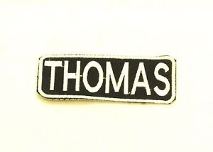 Thomas White on Black Iron on Name TAG Patch for Biker Vest Jacket NB259
