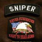 SNIPER and NEVER SURRENDER Small Badge Patches Set for Biker Vest Jacket