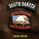 SOUTH DAKOTA and NEVER SURRENDER Small Badge Patches Set for Biker Vest Jacket