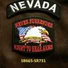 NEVADA and NEVER SURRENDER Small Badge Patches Set for Biker Vest Jacket