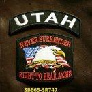 UTAH and NEVER SURRENDER Small Badge Patches Set for Biker Vest Jacket