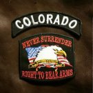 COLORADO and NEVER SURRENDER Small Badge Patches Set for Biker Vest Jacket