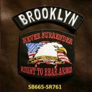 BROOKLYN and NEVER SURRENDER Small Badge Patches Set for Biker Vest Jacket