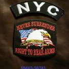 NYC and NEVER SURRENDER Small Badge Patches Set for Biker Vest Jacket