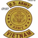 ARMY VIETNAM Brown on Gold Iron on 3 Patches Set for Biker Jacket