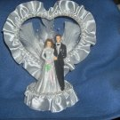 Wedding Cake Topper with White Satin Trim and White pearls HP3781