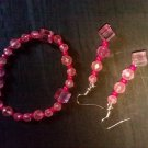 Pink and rose bracelet and dangle earring set