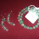 Light green, clear and gold jewelry set