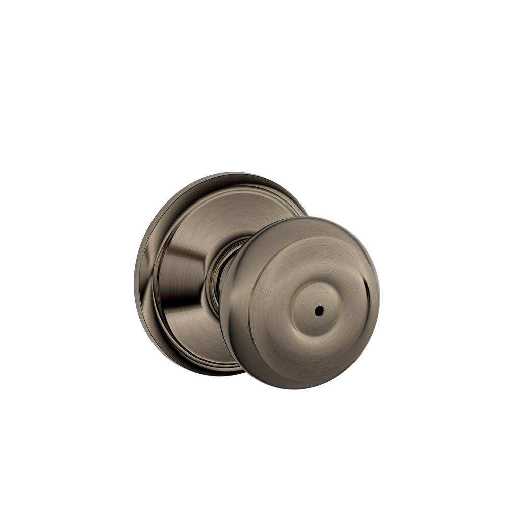 Schlage Georgian Bed and Bath Privacy Knob Antique Pewter F40 GEO 620