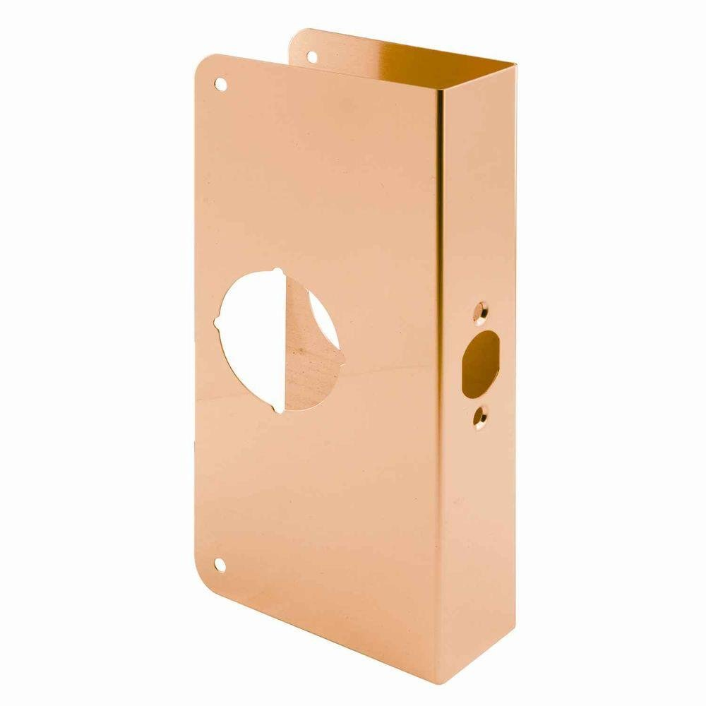 Prime-Line 2-3/8 in. Brass Backset Lock and Door Reinforcer Defender Security