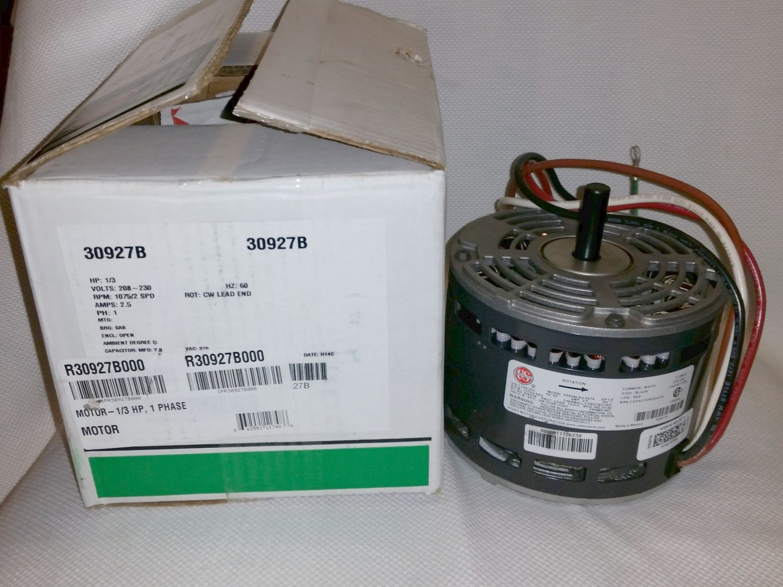 US Motors R30927B000 1/3 HP 1 Phase HVAC Motor R30927B