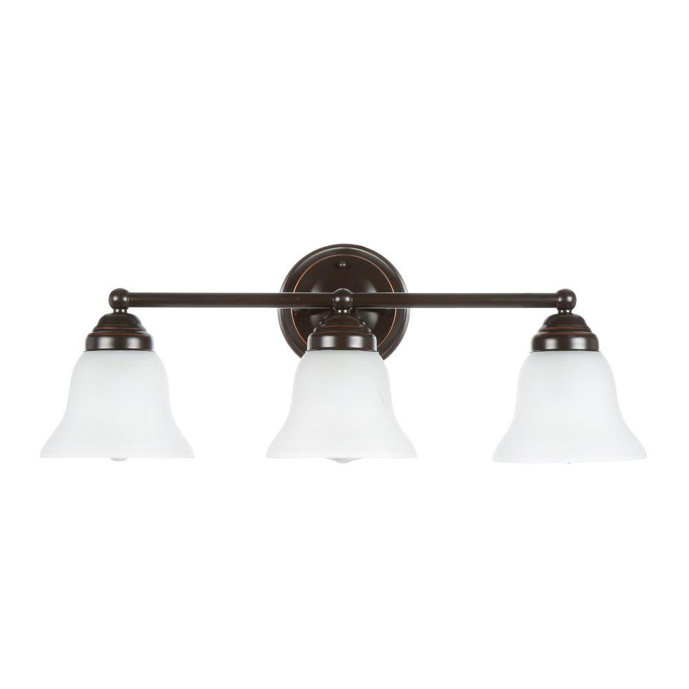 Hampton Bay Ashhurst 3 Light Oil Rubbed Bronze Vanity Bath Light Fixture
