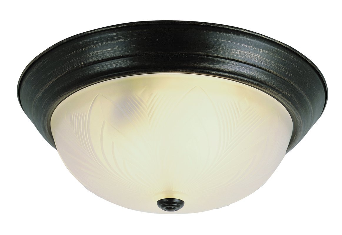 Trans Globe 3-Light Oil-Rubbed Bronze Flush Mount Light Fixture w/ Frosted Glass Leaf Shade
