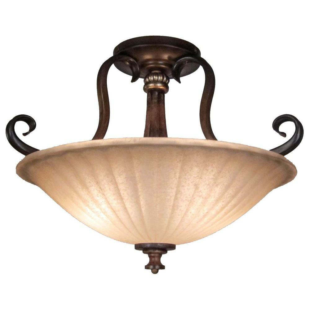 Hampton Bay Reims 2-Light Antique Bronze Semi-Flush Mount Light Fixture