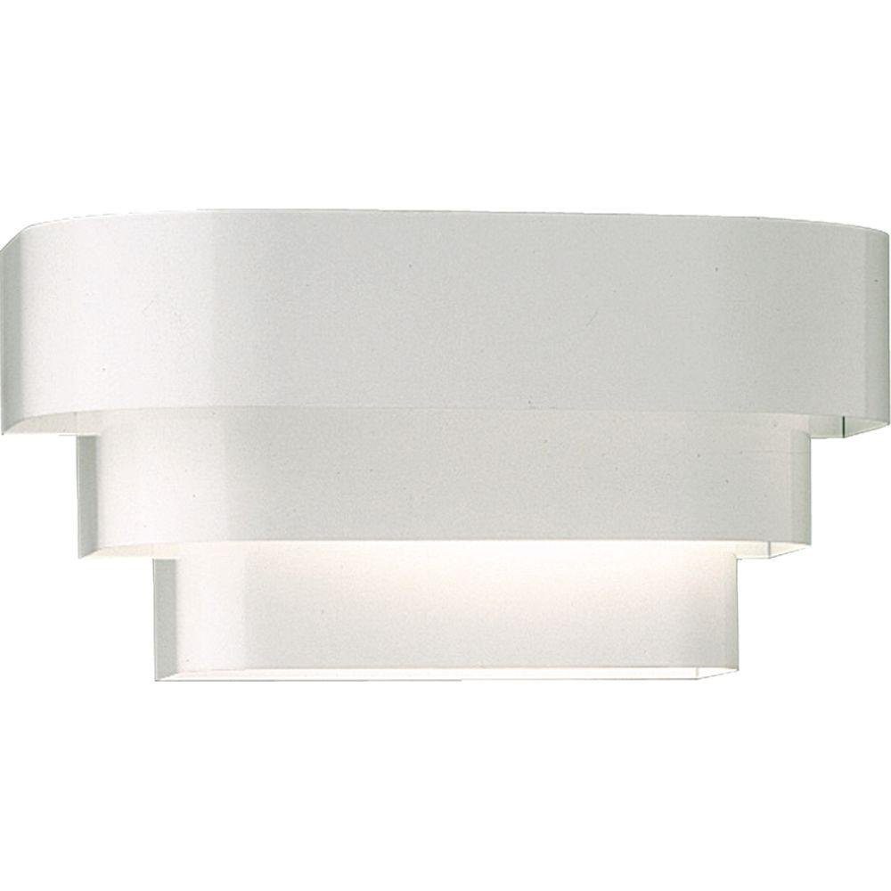 Progress Lighting 1-Light Deco White Metal Wall Sconce Light Fixture