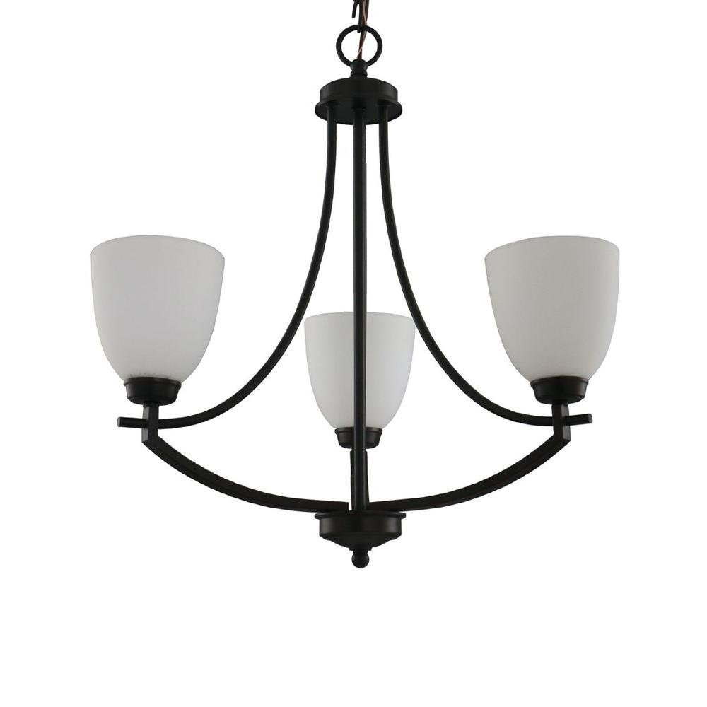 Hampton Bay 3-Light Bronze Chandelier Frosted Glass Shades