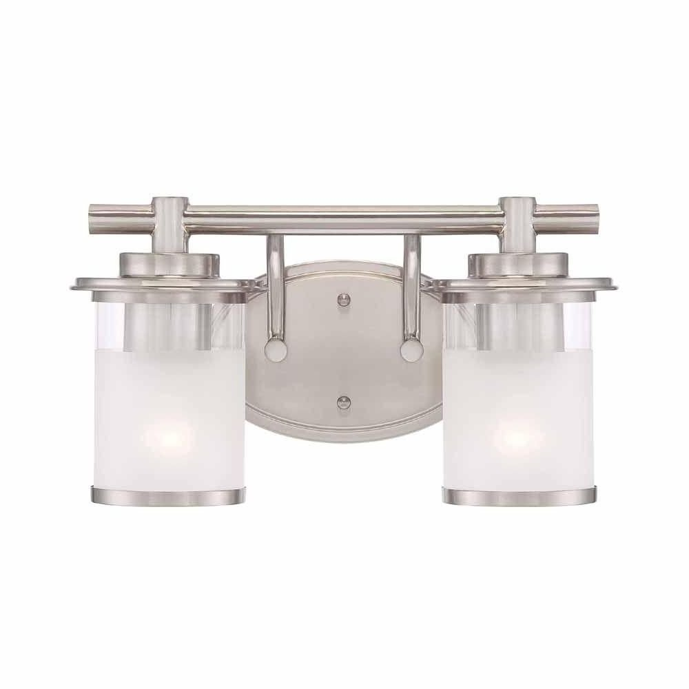 Hampton Bay Truitt 2 Light Brushed Nickel Vanity Light Fixture