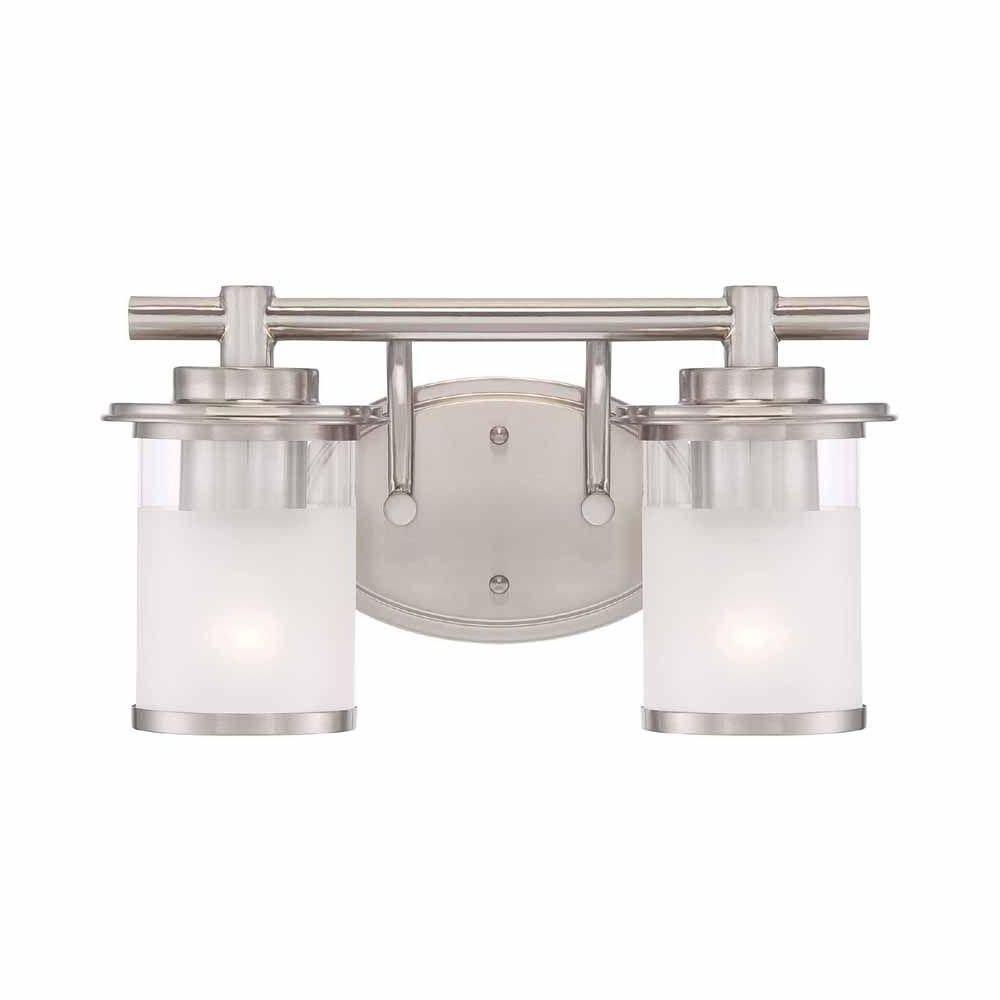 Hampton Bay Truitt 2 Light Brushed Nickel Vanity Light Fixture