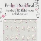 White Butterflies wiith Pink & Silver Crystal Gems ~ 3D Nail Art Decals ~ Transfer Stickers