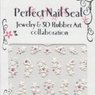 3D White Hearts & Stars w/ Pink & Silver Crystal Gems ~ Nail Art Decals ~ Transfer Stickers