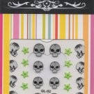 Gray/Black Skulls & Lime Green Stars 3D Nail Art Decals ~ Transfer Stickers ~ Goth/Punk