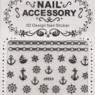 Anchor Sailor 3D Nail Art Decals ~ Black with Silver Gems ~ Transfer Stickers