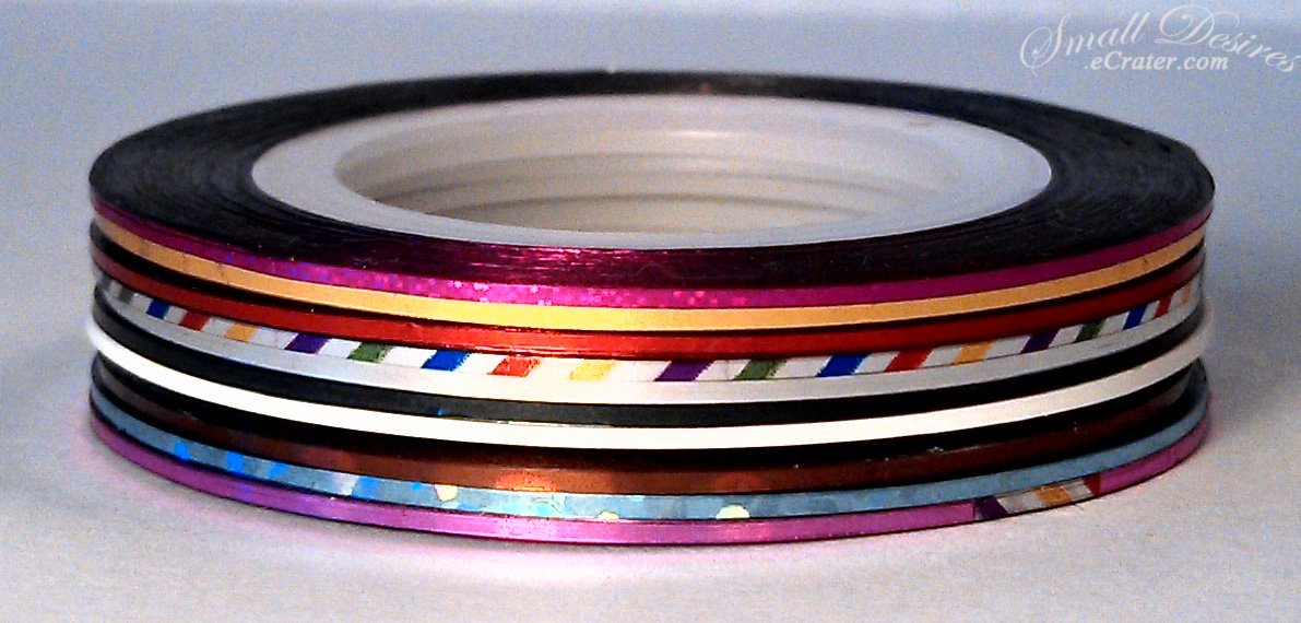 Nail Art Stripping Tape 10 Pack Multi Colors ~ Metallic Yarn