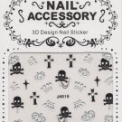 Skulls, Crossbones, Crosses & Crowns w/ Silver Gems 3D Nail Art Decals ~ Transfer Stickers