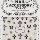 Crosses & Butterflies w/ Gold Gems 3D Nail Art Decals ~ Transfer Stickers