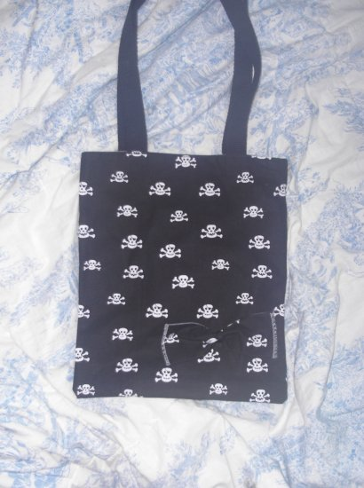 Black and White Skull Mini Tote Bag