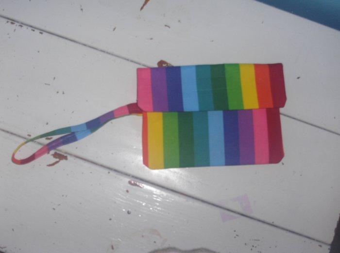 Rainbow Stripe Wristlet