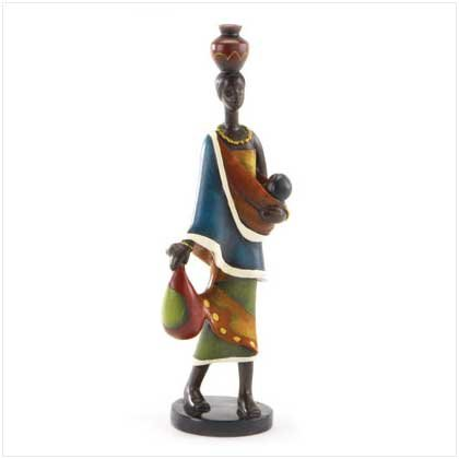 African Mother and Baby Figurine