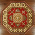 New 7' Octagon Hand Knotted Oriental Kazak Red & Ivory Persian Wool Rug H3424