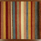 "Striped Area Rug, Colorful Hand Knotted 10' 7"" X 8' 2"" Gabbeh Peshawar Rug S477"