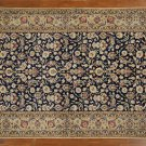 New Blue/Beige Hand Knotted Signed Isfahan 5'x8' Persian Wool & Silk Rug GZT410