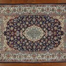 "New Elegant Navy Persian Isfahan 5' X 7' 3"" Hand Knotted Wool & Silk Rug GZT409"