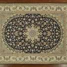 New Elegant Blue/Ivory Persian Isfahan 8x11 Hand Knotted Wool & Silk Rug GZT405